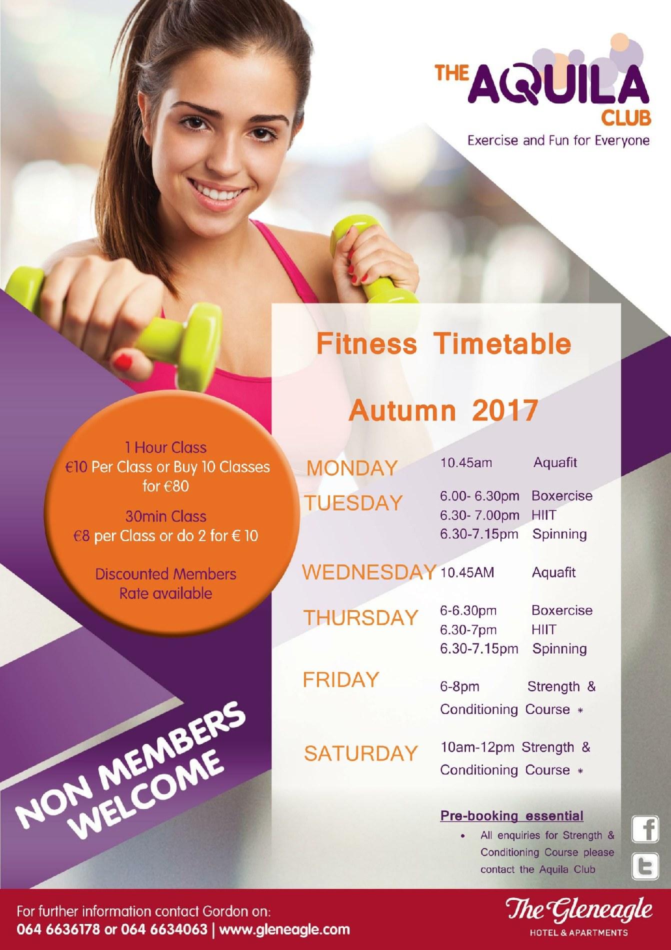 Aquila Club Autumn Fitness Timetable 2017